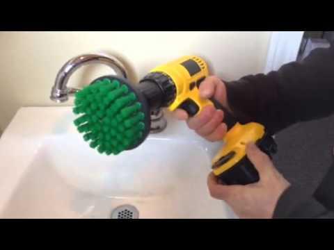 scrub brush for sink and bathroom tile scrubbing rotary scrub bit