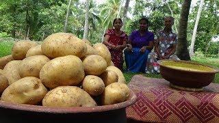 Potato Snacks Recipe prepared in my Village by Grandma, Mom & Daughter - Village Life
