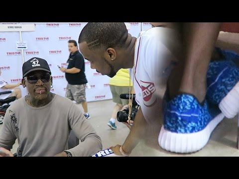 Asking Dennis Rodman How Do He Feel About The Warriors 73-9 Record! FAKE YEEZYS EXPOSED