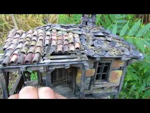 Handmade old house model made from clay and wood