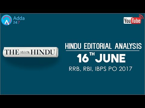 The Hindu Editorial Analysis - 16th June 2017 - Online Coaching for SBI, IBPS Bank PO
