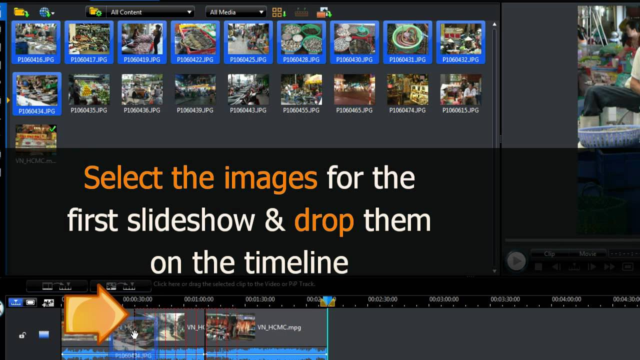 Powerdirector 8 first project part 1 tutorial doovi for Powerdirector slideshow templates download