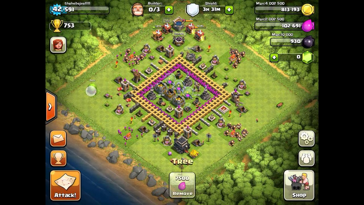 Clash of clans level 9 town hall farming base - YouTube
