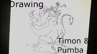 Drawing Timon and Pumba - Drawing for kids