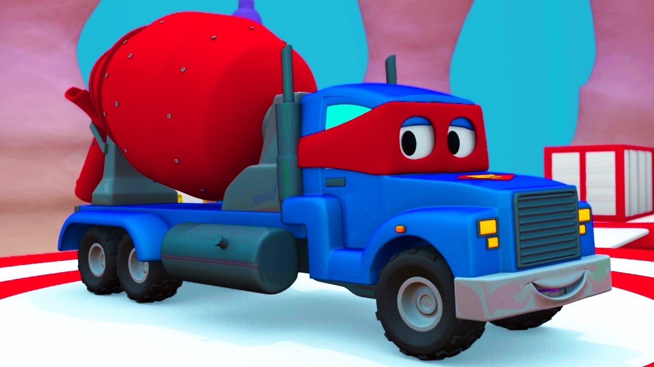 Carl El Super Camión Y El Mezclador De Cemento En Auto