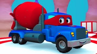 Carl el Super Camión y el Mezclador de Cemento en Auto City  Dibujos animados para niños