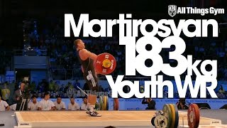 Simon Martirosyan 183kg Youth Snatch World Record Almaty 2014 w/ Slow Motion