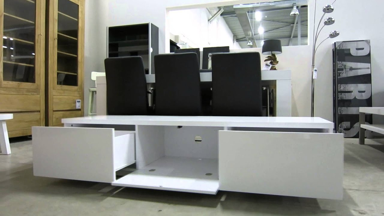 Tv dressoir hoogglans wit ho 19 1 8 youtube for Tv dressoir hoogglans wit