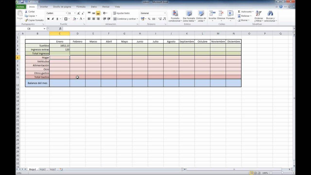 Excel 2010  Contabilidad domestica con control de gastos