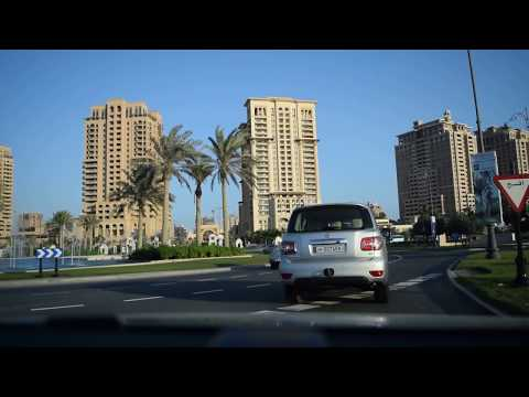 Doha, Qatar Driving: The Pearl Neighborhood - Most Elite Area of Qatar
