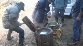 HD(1) 有機農法・餅つき/Organic Farming Rice Pounding Party/ゲスト:野生の猿