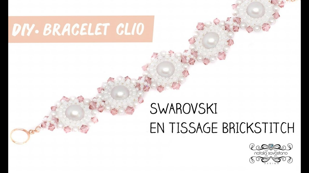 TUTO BIJOU DIY | Bracelet avec des toupies Swarovski en tissage brickstitch