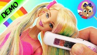 RAINBOW HAIR BARBIE lalka z tęczowymi włosami - farbowanie z pomocą prostownicy | kredy do włosów