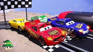 Disney Car Racing Derby Running. Car track play and fast speed McQueen toy.