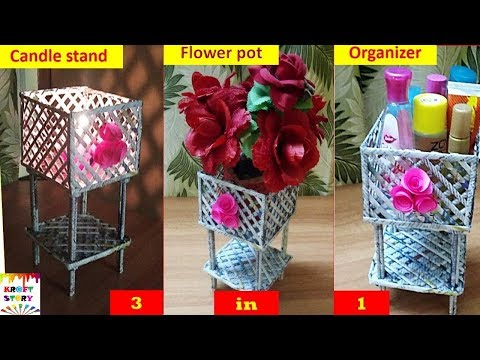 Newspaper craft idea | newspaper organizer | newspaper flowerpot | newspaper candle stand