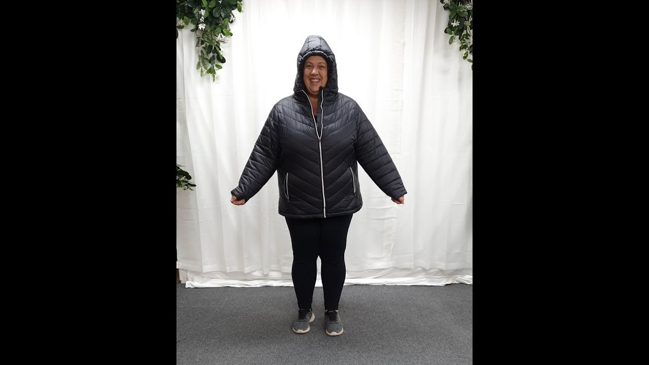 Plus Size Black Puffer Zip Front Jacket