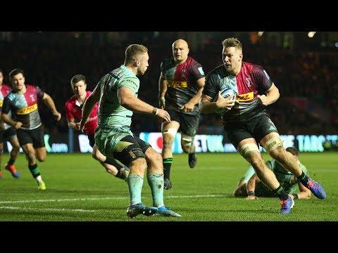 Alex Dombrandt try helps Harlequins beat Gloucester 23-19