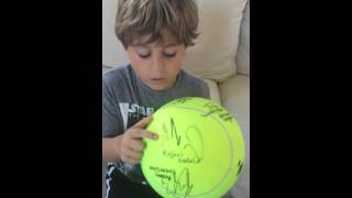 Autographs from famous tennis players, including Rafael Nadal, Tsonga and others
