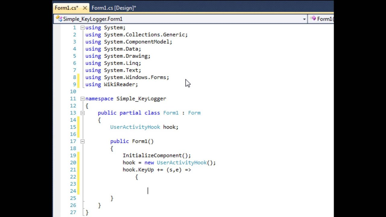 C# Create a simple keylogger