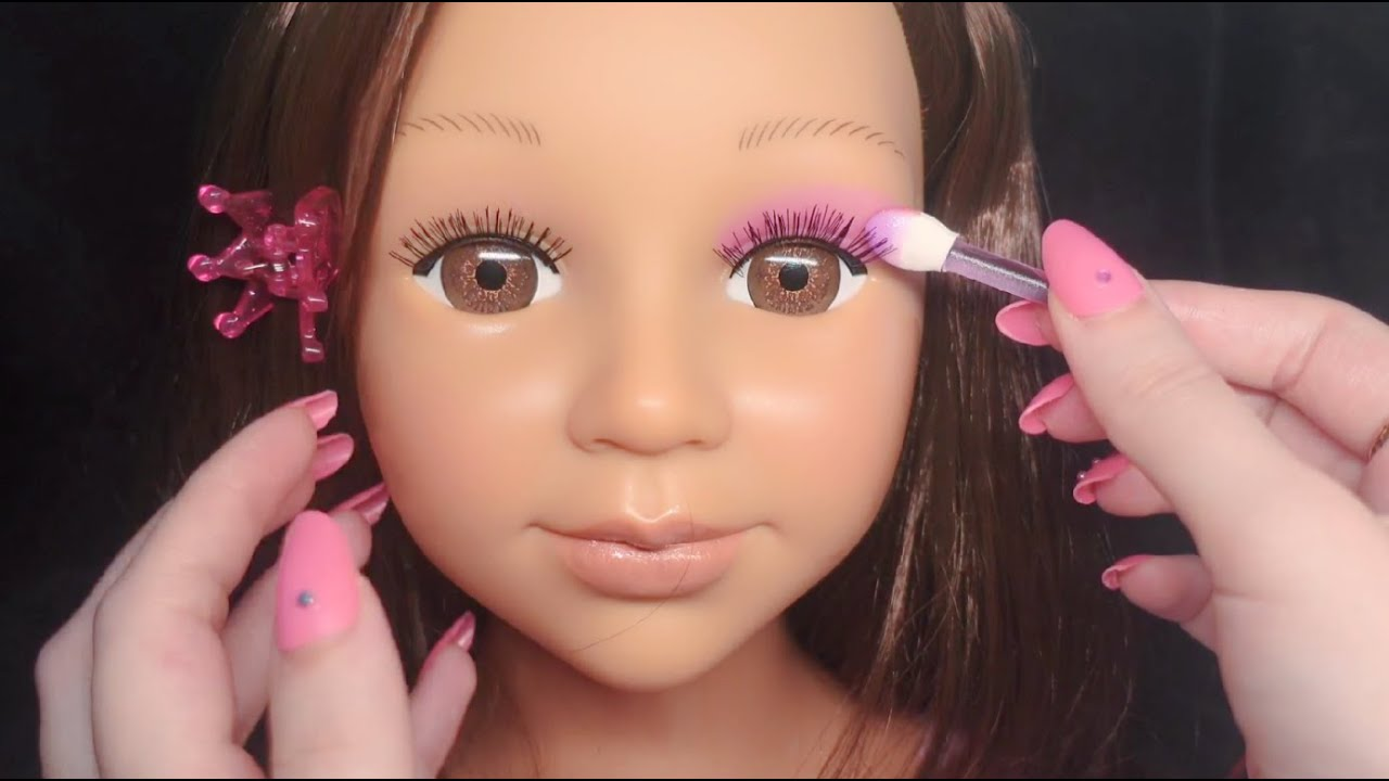 [ASMR] Kids Makeup on Doll Head (tapping, whispering, makeup sounds)