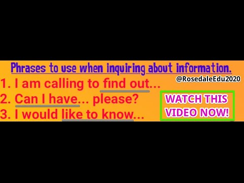 Examples of inquiring for something   Build Your Confidence   Rosedale Academy