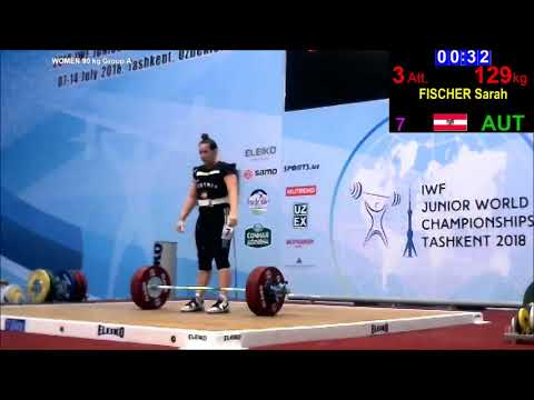 Sarah Fischer - Stoßen 122/126/129x - 2018 IWF Junior World Championships
