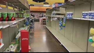 Empty grocery store shelves ahead of holidays