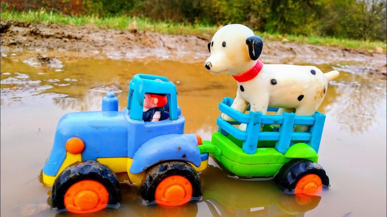 Мультики про машинки. Синий трактор и собачка. Детские ...