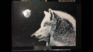 #146. How to paint a wolf's head and moon in acrylic