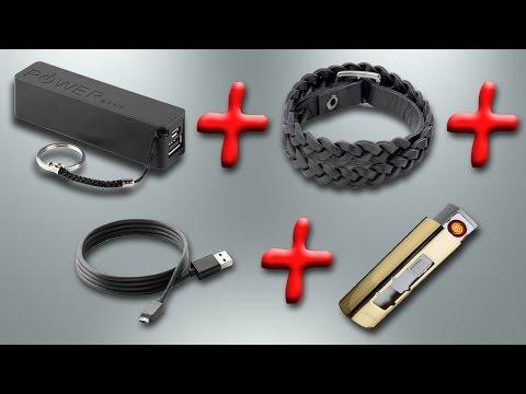 Многофункциональный браслет (браслет + зажигалка + USB кабель + Power Bank)