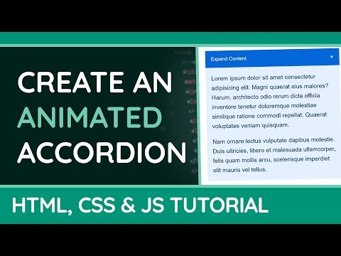 How to create an animated Accordion/Collapsible Content - HTML, CSS & JavaScript - Website Tutorial thumbnail