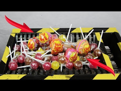 Experiment Shredding 100 Chupa Chups And LolliPops | The Crusher