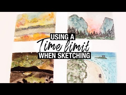 3 Reasons to Try a Time-limit When Sketching | Landscape Painting Timelapse (Sketchbook hour)