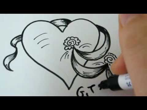How To Draw a Heart Ribbon And Flowers 2 #1