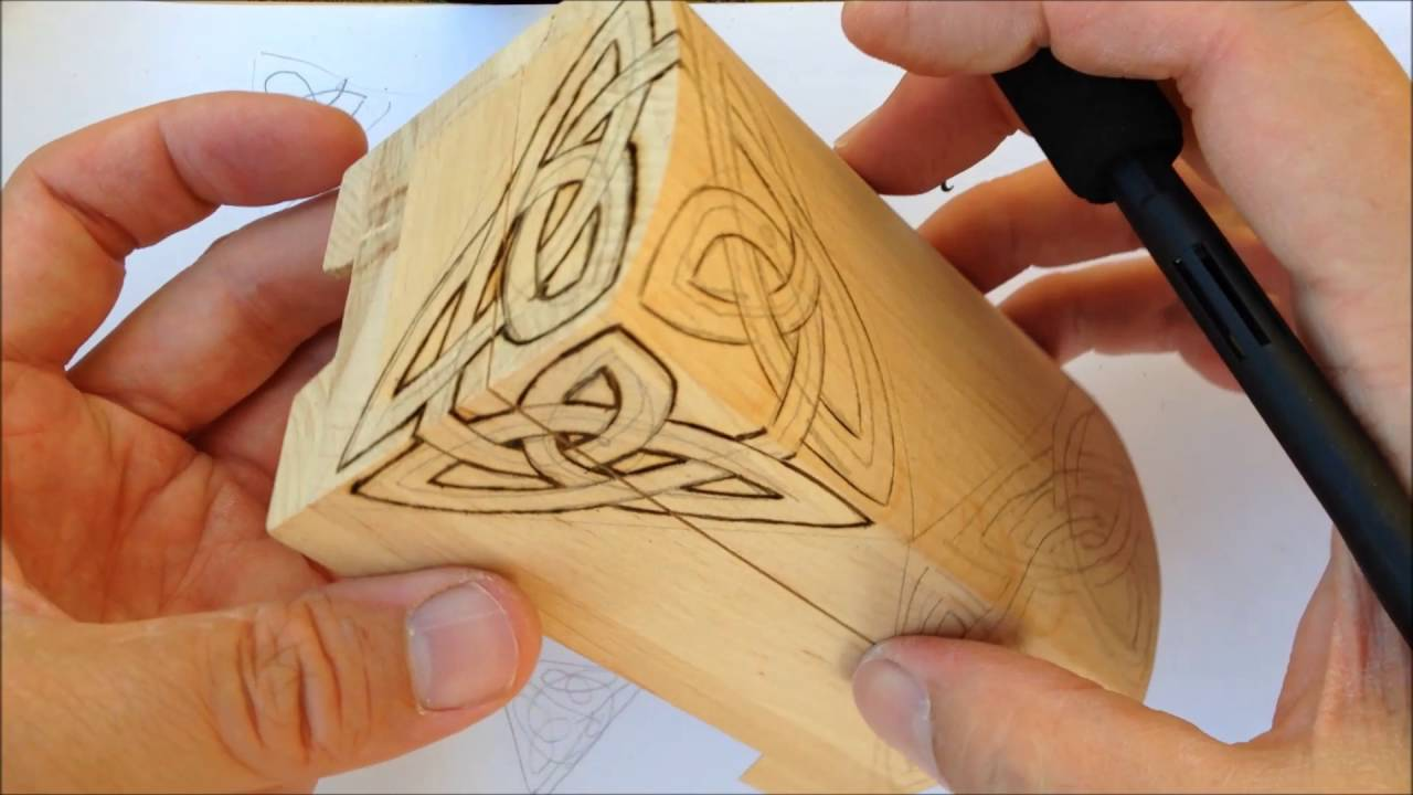 How To Draw Celtic Patterns 150 Wood Burning An Interlace To A Box Part 7 Of 12