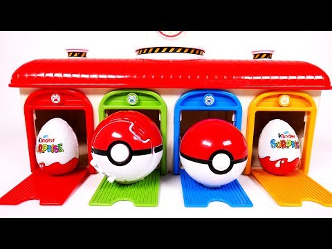 Garage Parking Playset Surprise Toys Learn Colors Pokemon Kinder Eggs for Children and Kids Bus Vehi