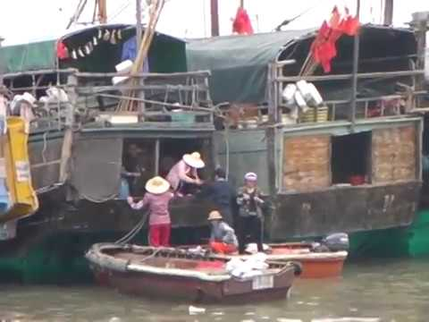 House Boats South China Sea Zhuhai  Wooden Boat People Village