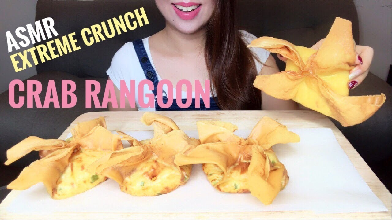 Asmr Giant Crab Rangoon American Chinese Food Recipe Eating Sounds No Talking Youtube