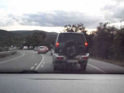 Driving in traffic with rally cars, WRC Portugal 2014