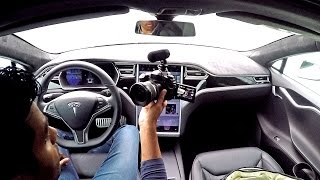 INSIDE the 2016 Tesla Model S P90D | Autopilot Proven Perfect to Cars and Coffee Twente