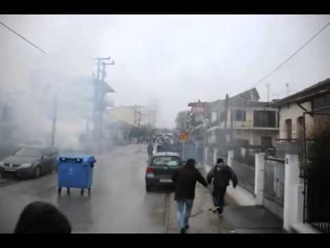 #skouries Greek police poison the Protesters Over Gold Mine (March 7th 2013)