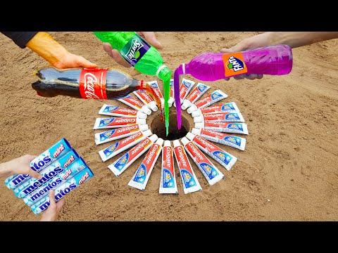 Experiment Pepsi, Fanta, Coca Cola, And Other Popular Sodas Vs Mentos Underground