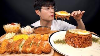 SUB) 크림김치볶음밥, 치즈돈가스, 우동 리얼사운드 먹방_Cream Kimchi fried rice,  Cheese pork cutlet, Udon Realsound