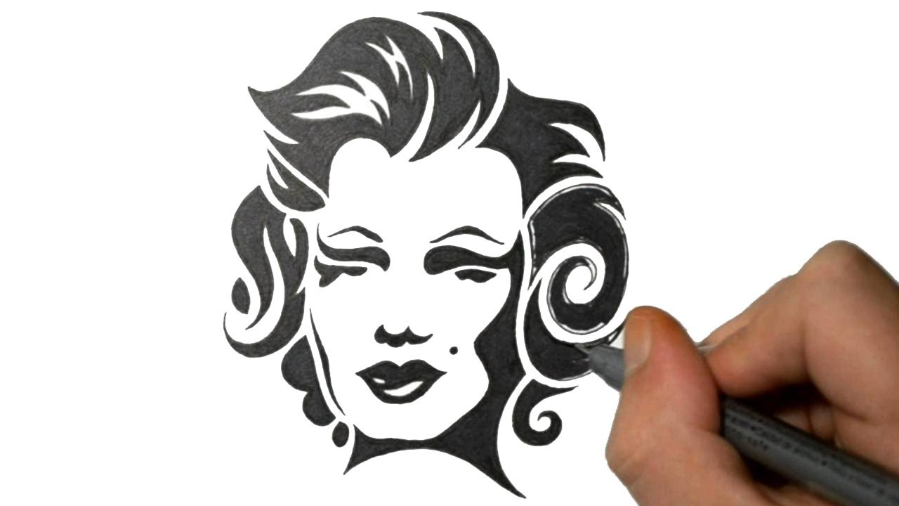 Drawing Marilyn Monroe In A Tribal Tattoo Design Style