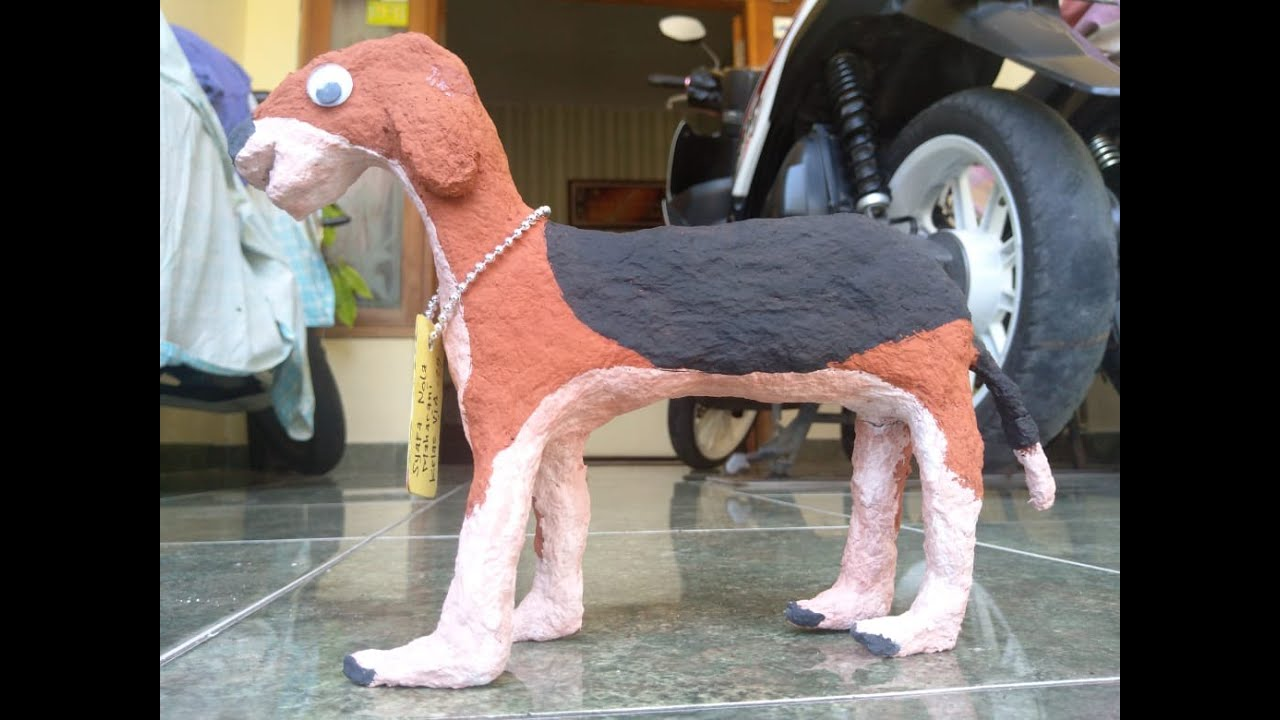 Cara Mudah Membuat Patung Anjing Dari Koran Bekas - YouTube