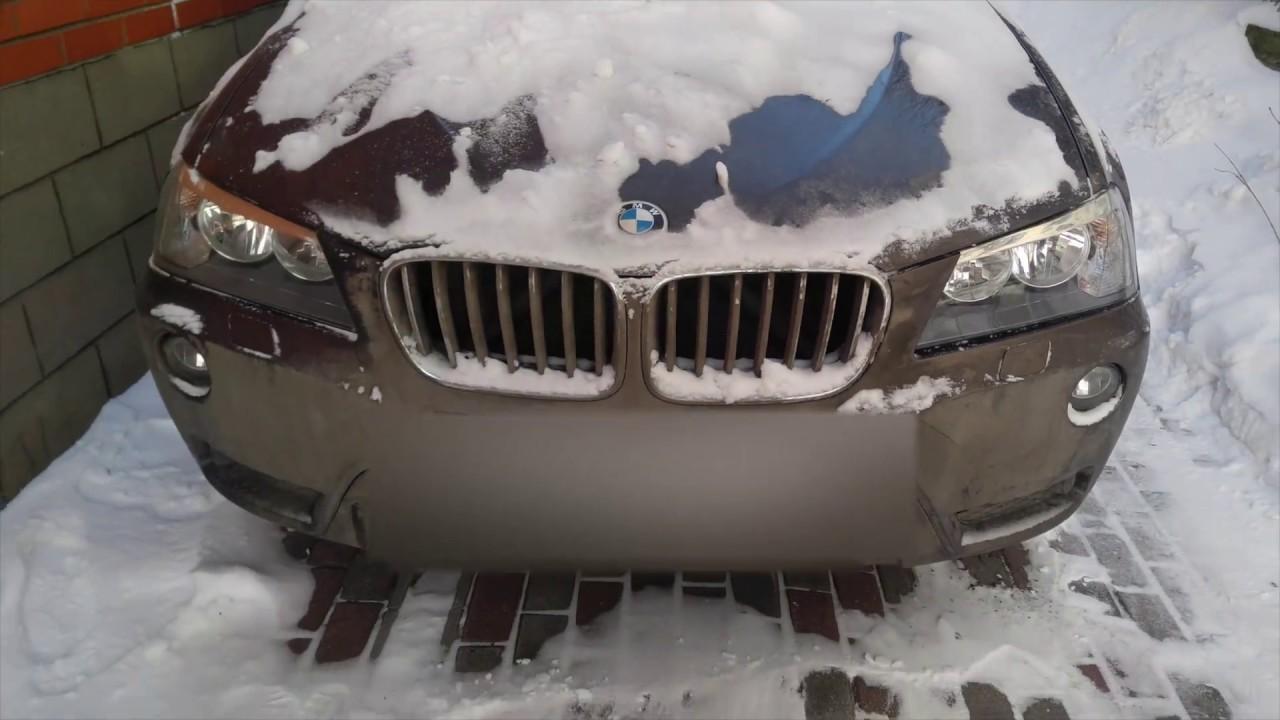Замена стекла на фаре BMW X3 F25. Процесс снятия бампера.