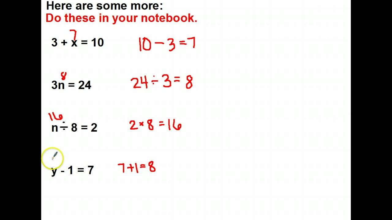 Mrsclarkes Missing Numbers In Equations Youtube