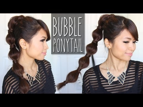 bubble-ponytail-hairstyle-|-medium-to-long-hair-tutorial