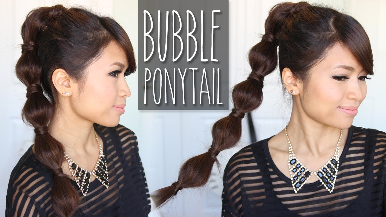 bubble ponytail hairstyle medium