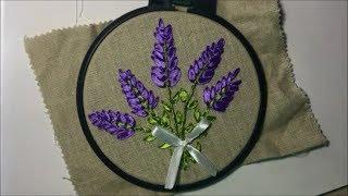 Лаванда вышитая атласной лентой / Lavender embroidered with satin ribbon